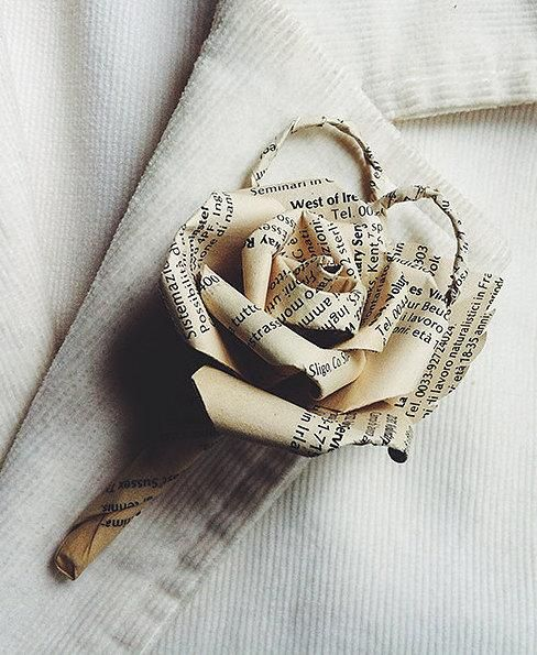 Celebrate your love story's happy ending — and your new beginning as a couple — with boutonnieres made from upcycled book pages. #etsyweddings
