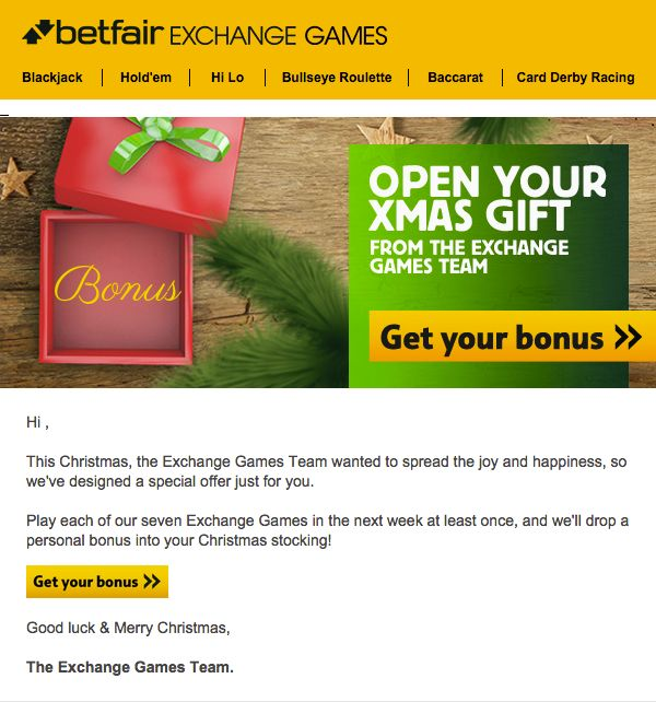 Betfair personalized this holiday email by displaying different £ amounts in the gift box (e.g., £5, £10, £20, £25, £50) depending on the recipient.