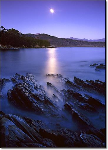 ✯ Full moon at night, Deadmans Bay, Southwest National Park, Tasmania