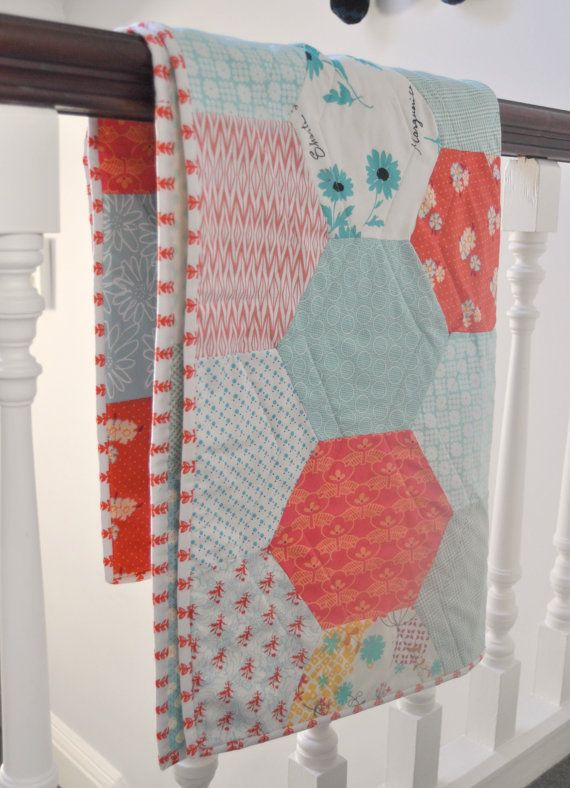 Love the Hexes. Great Pattern Idea. Giant Hexies Quilt Pattern by BlueberryPark on Etsy