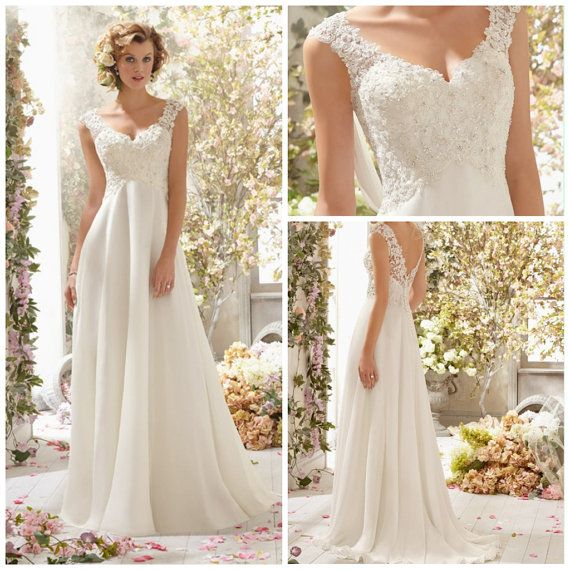 V Neck A Line Wedding Dress Chiffon With Beads And Applique Court Train