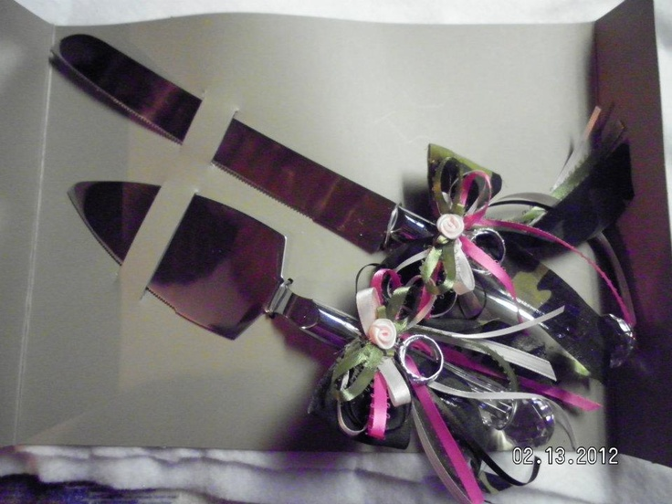 Pink And Camo Cake Knife Set