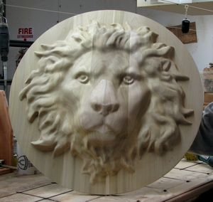 Wood Carved Lion - Medallion
