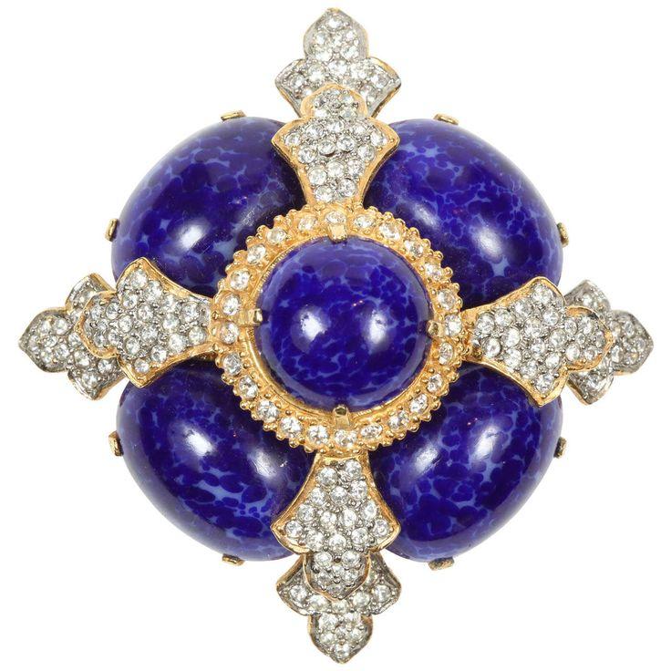 Kenneth Jay Lane Snake Pin Sapphire/amethyst CXLaSNTP4b