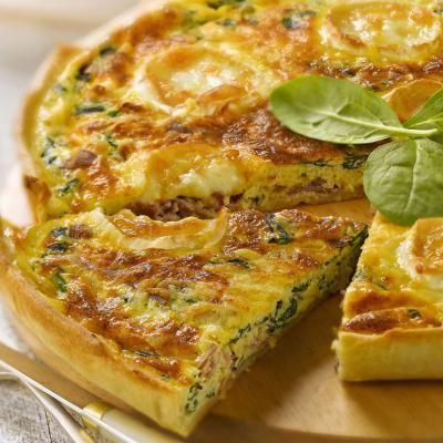 Quiche met spinazie, kaas en ham