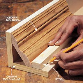 Build a jig to hold crowns and coves - possible alternative to expensive fireplace mantel