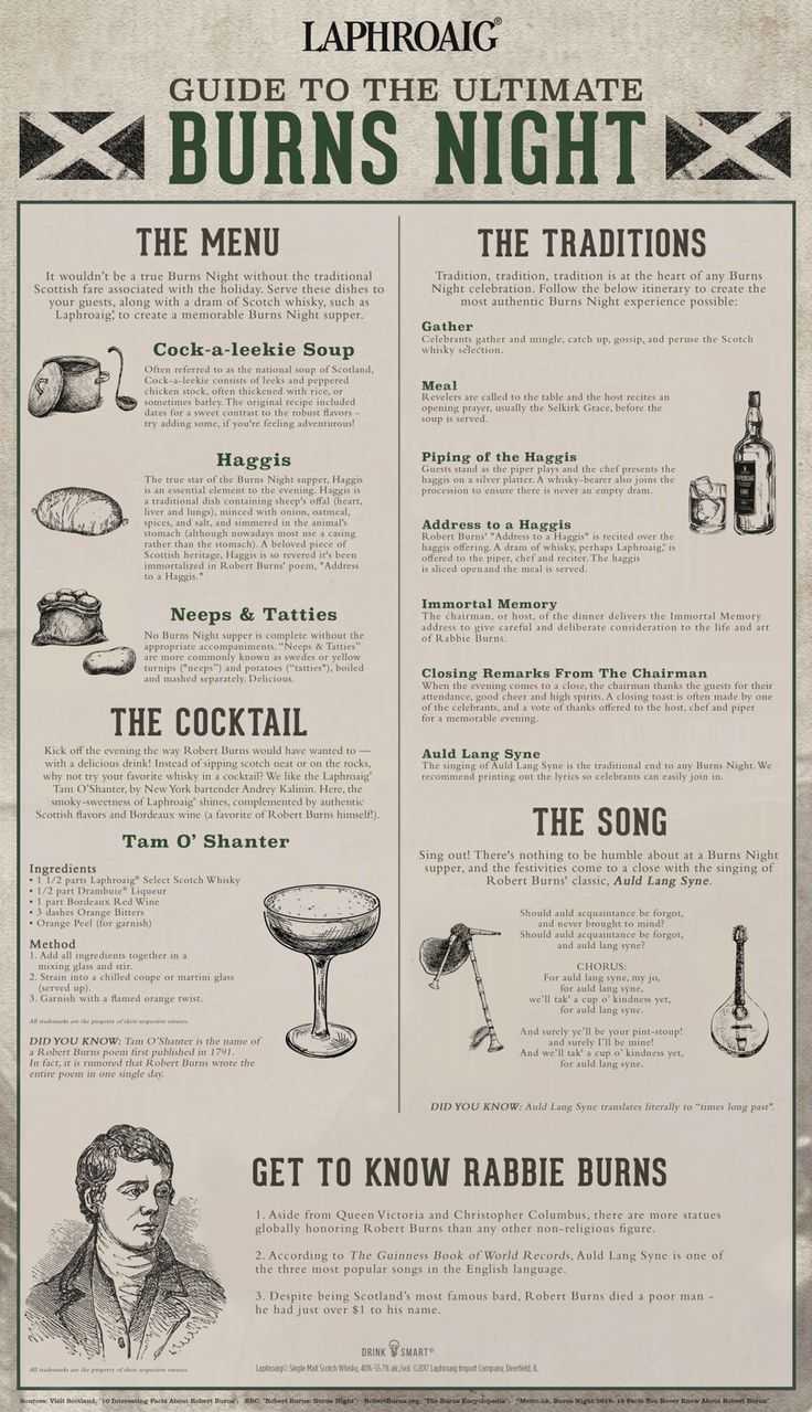 Your Guide to the Ultimate Burns Night - Infographic. Support history - happening every January 25 for more than 200 years now. (Sorry, I'll skip the Haggis.)