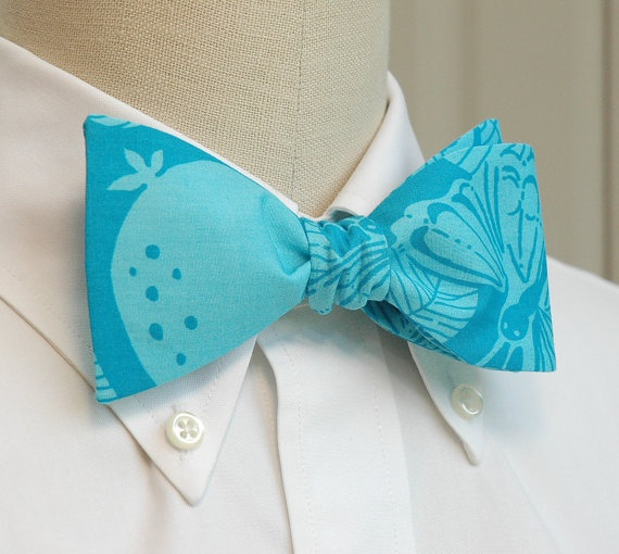 Men's Bow Tie in turquoise Lilly Pulitzer Monarch by CCADesign, $27.00