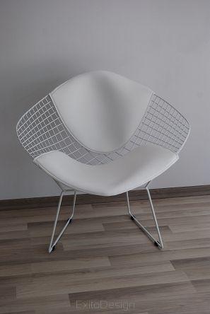 Fotel, krzesło Wire white with white cusion