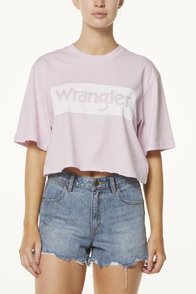 wrangler - Boyfriend Crop Tee - Pink/White