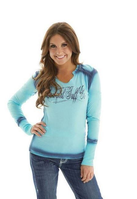 Cowgirl Tuff Long Sleeve Shirt with Cross and Rhinestone Embellishment