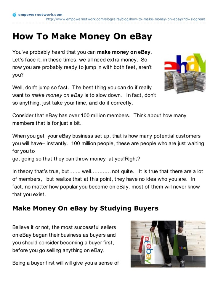 how-to makemoney on ebay by slogreira via Slideshare