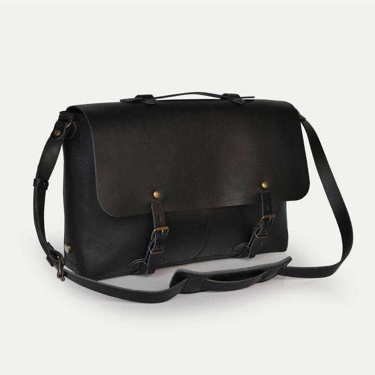 Sac plombier Jules, Noir - Jules Plumber bag, Black. Bleu de Chauffe. Made in France #satchel #leather #bag