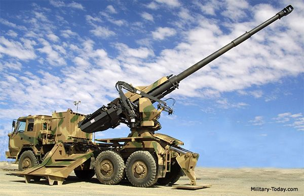 The T5-52 truck mounted gun-howitzer was developed by Denel Land Systems. First prototype of this artillery system was revealed in 2002. It is a South African counterpart to the French Caesar truck-mounted howitzer, developed to meet the potential requirements of India. Development of this artillery system is completed, however there were no confirmed sales.