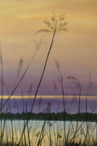 Wiebke Müller, Weser at dusk - oil on canvas