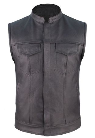 Outlaw Biker Leather Vest   Mens Leather Motorcycle Vest with Gun Pocket Conceal Weapon