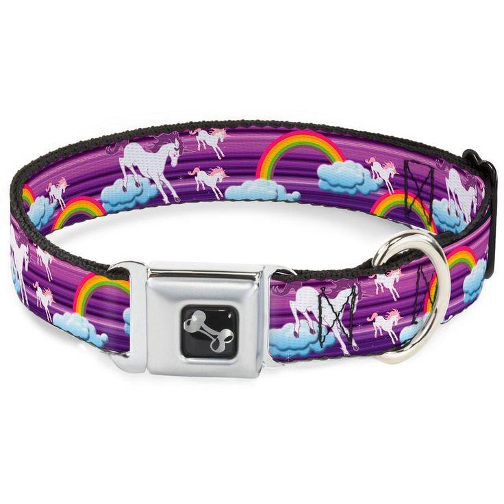 Unicorns & Rainbows with Stripes Purple Dog Collar