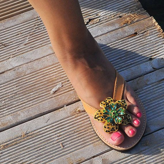 Olympian Grecian Sandals of Natural Leather with by GrecianLeather