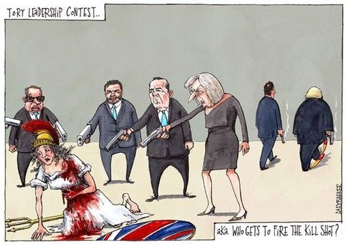 The Tory leadership contest political cartoon, which in reality is choosing the person who will fire the shot that finally finishes the country off. With Theresa May, Liam Fox, Stephen Crabb, Michael Gove as contenders and David Cameron and Boris Johnson walking away having already mortally fired their shots at Britannia. #Theresa #May #Brexit #David #Cameron #Boris #Johnson #UK #Britannia #EU #political #cartoon