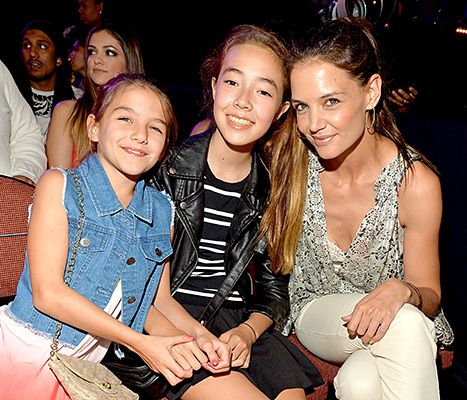 Suri Cruise and Katie Holmes with guest in the audience during Nickelodeon's 28th Annual Kids' Choice Awards held at The Forum on March 28, 2015.