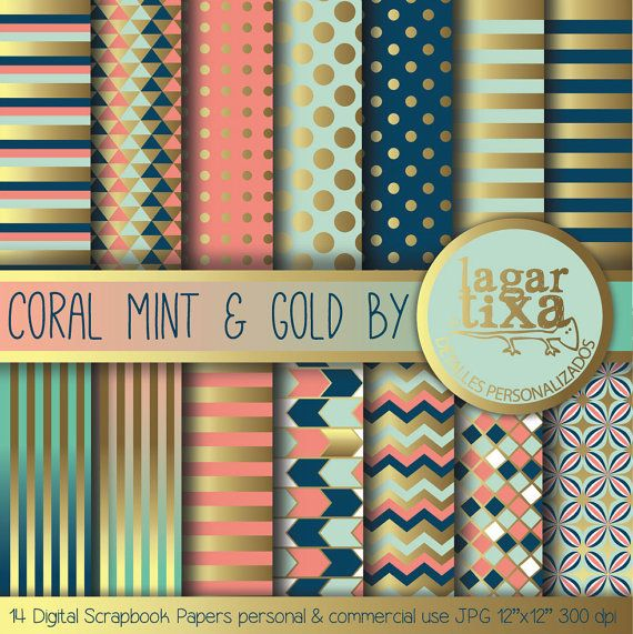 Gold Coral Mint Teal Navy blue Marine Salmon Peach Digital Paper Background Nautical dots Scrapbooking Blog invitations thank you cards on Etsy, $4.00