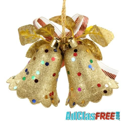 Christmas Gold Double Bell Hang Decoration