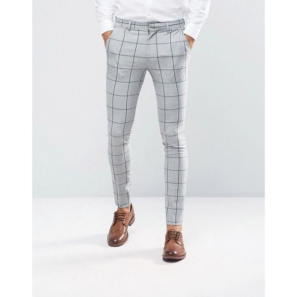 ASOS Super Skinny Suit Pants In Green Window Pane Check ($60) ❤ liked on Polyvore featuring men's fashion, men's clothing, men's pants, men's dress pants, grey, mens green pants, mens polyester pants, mens skinny dress pants, mens skinny suit pants and mens skinny pants