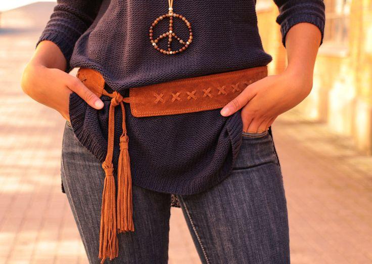 Boho cintura cintura in vera pelle scamosciata con nappine