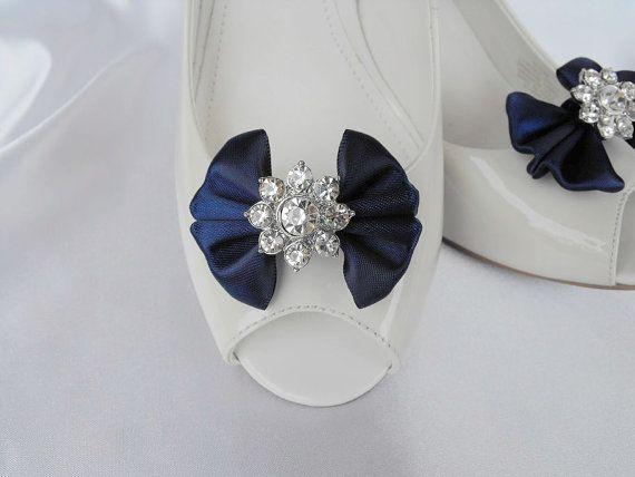 Handmade bow shoe clips with rhinestone center by enjoythecreation, $18.00