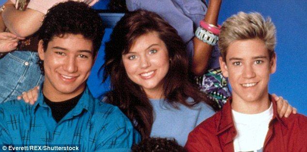 Love triangle: A new tell-all book claims Tiffani-Amber Thiessen romanced both Mario Lopez andMark-Paul Gosselaar on the hit TV series Saved By The Bell