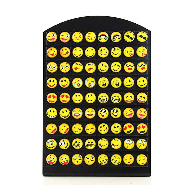 Design 36 Pairs Emoji Funny Happy Face Stud Earring For Women Girls Trendy E