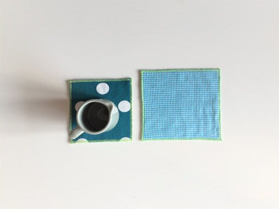 fabric teal mug rug - teal polkadot and gingham trivets - set of 2x - hostess gift - shabby home decor - tea time washable mug rug #redstitch