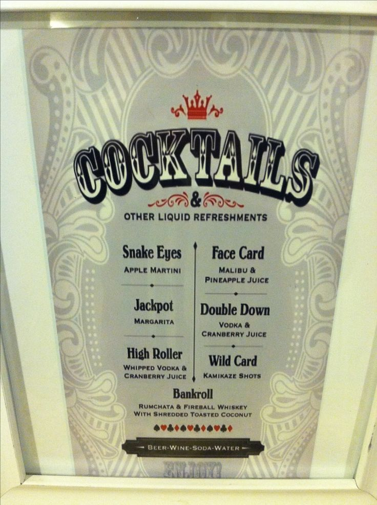 Casino Night Cocktails Menu by Fresh Baked Designs on Etsy