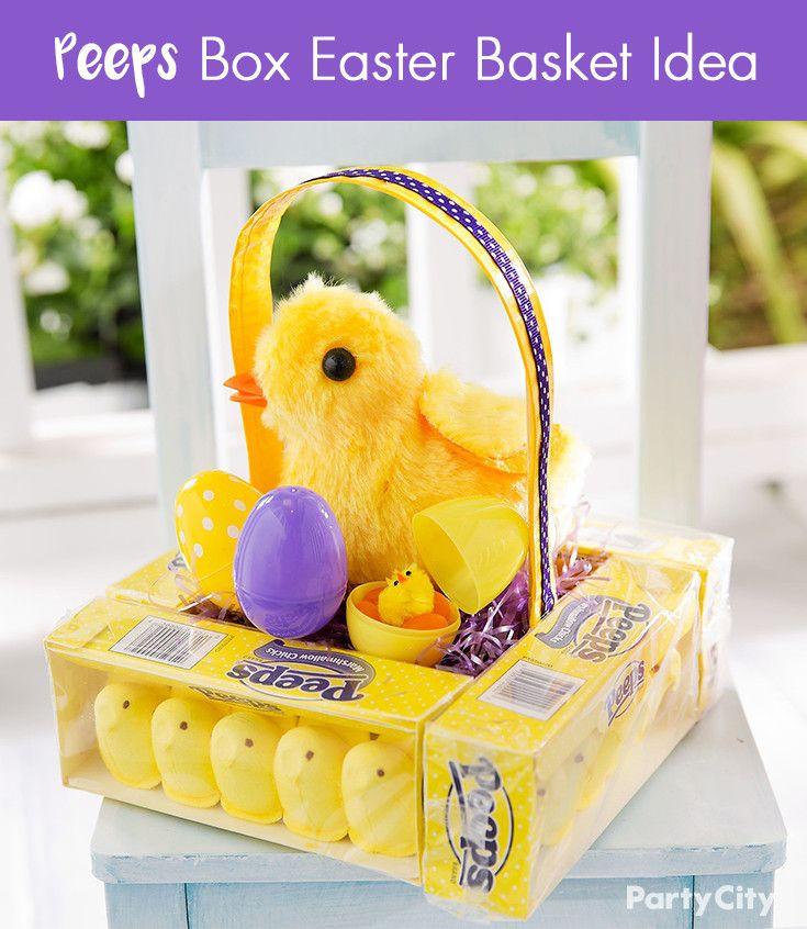 DIY this Peeps® inspired Easter basket idea for someone with a sweet tooth!Using boxes of the candies and a hot glue gun, construct a base for your basket. Fill it with purple grass, filled plastic Easter eggs and a super cute plush chick. Create a handle out of duct tape and ribbon and – voila! You've got one sweet surprise!