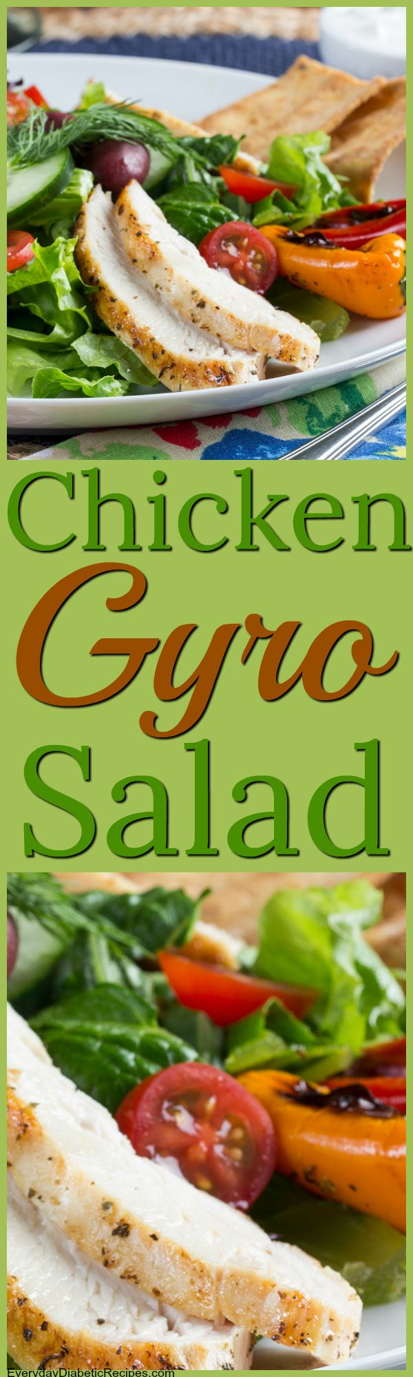 A perfect salad for spring! #springsalad #chicken #diabeticfriendly #recipes #chickensalad #chickengyro