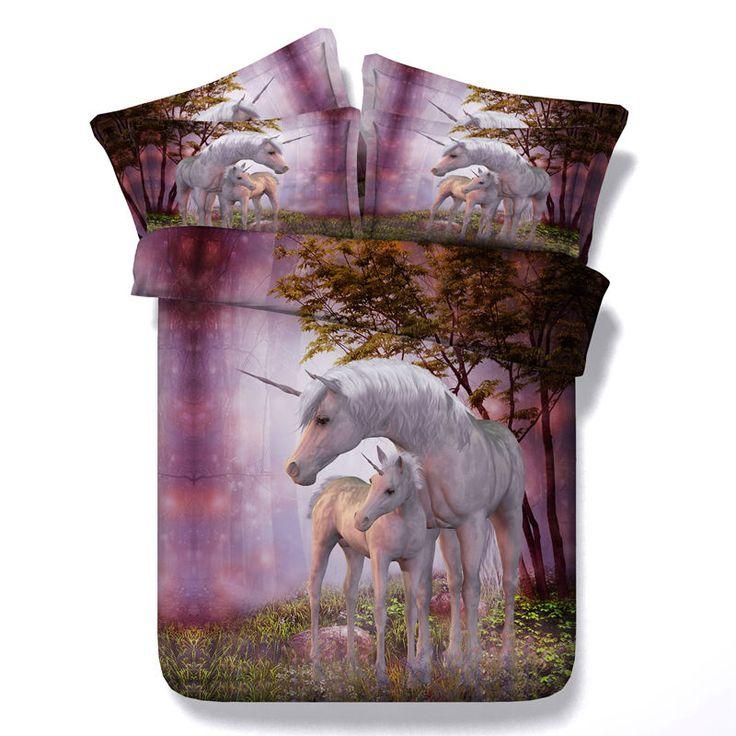 HD Digital Unicorn Duvet Cover Set 3D Bedding Sets Mother And Baby Unicorns Modal Twin Queen King Size Bedclothes 3PCS Sale #Affiliate