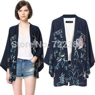 Mulheres Kimono Vintage Jacket estilo solto europeu Retro Floral Chiffon Cardigan blusa casaco Blazer Feminino alishoppbrasil