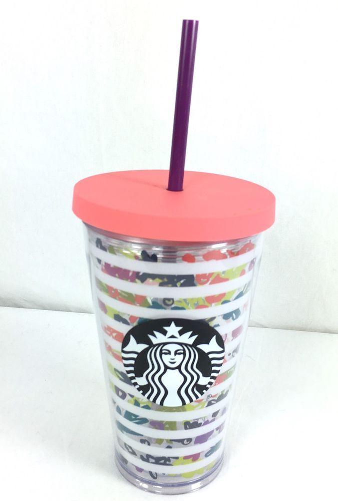 Starbucks Spring Floral Acrylic Cold Cup Flower Stripes Purple Straw Grande 16oz #Starbucks