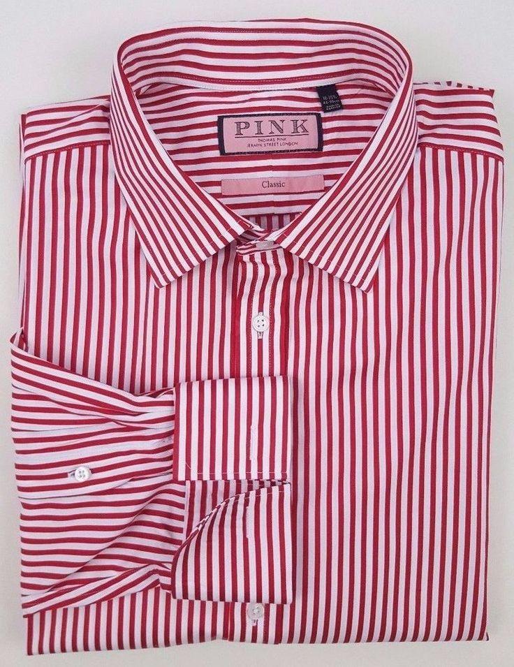 THOMAS Pink SHIRT 18 35 1/2 Striped RED White CANDY Cane CLASSIC French CUFF Man #ThomasPink #FrenchCuff