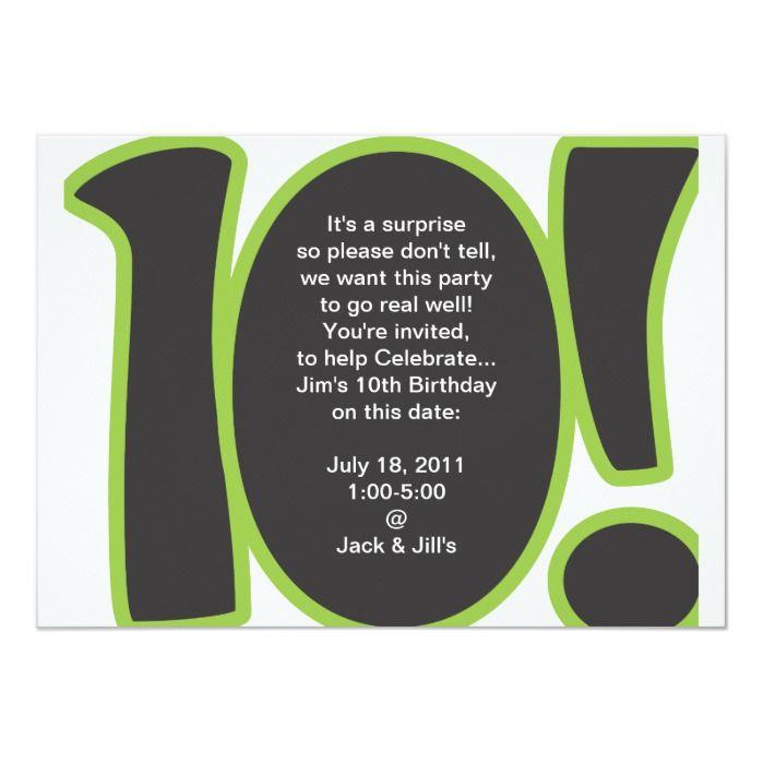 10th Birthday Invite Zazzle Com Birthday Invitations 10th Birthday Invitation Surprise Birthday Invitations