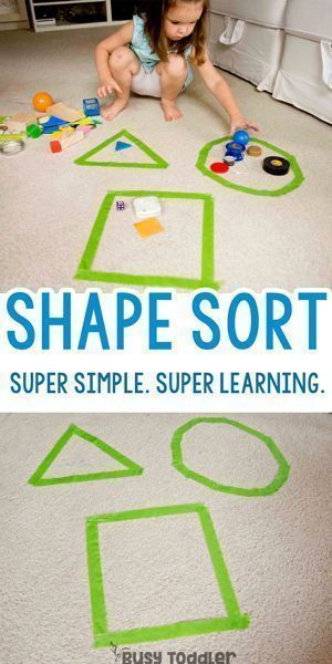 Super Simple Shape Sorting Activity – Easy Indoor Activity; simple math activity