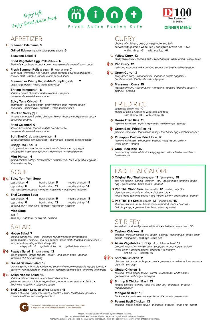 8 best Menu: Asian Mint ® images on Pinterest | Asian, Mint and ...