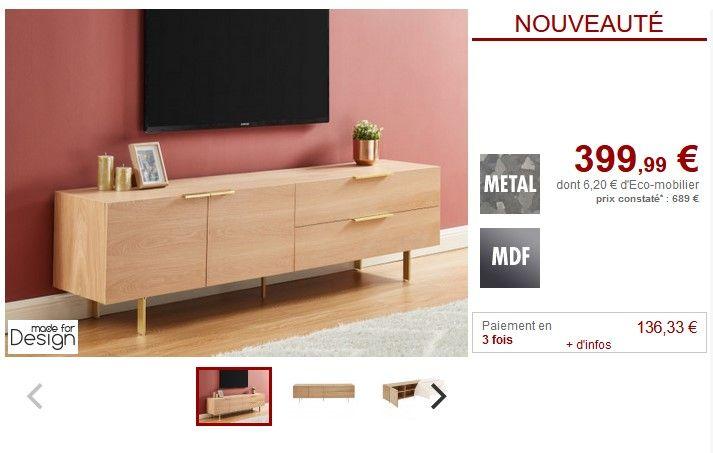 Meuble Tv Valola 2 Portes Et 2 Tiroirs Naturel Pas Cher Meuble Tv Vente Unique En 2020 Meuble Meuble Tv Et Mobilier De Salon