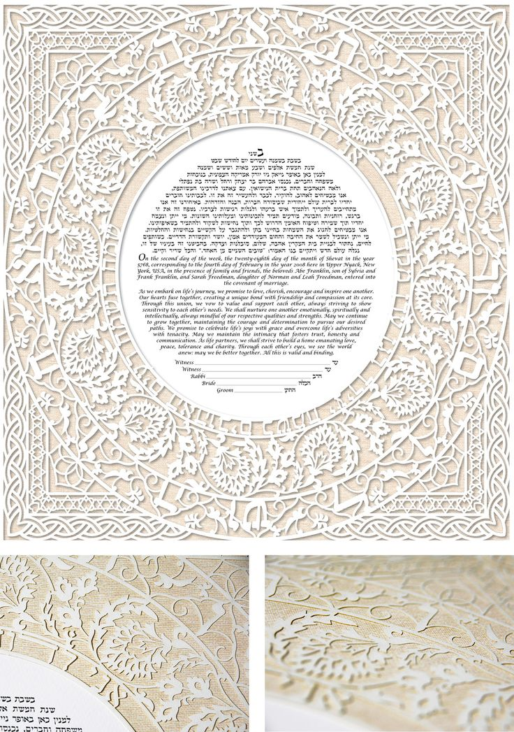 Luna Love Papercut - Sand Weave Ketubah by Enya Keshet