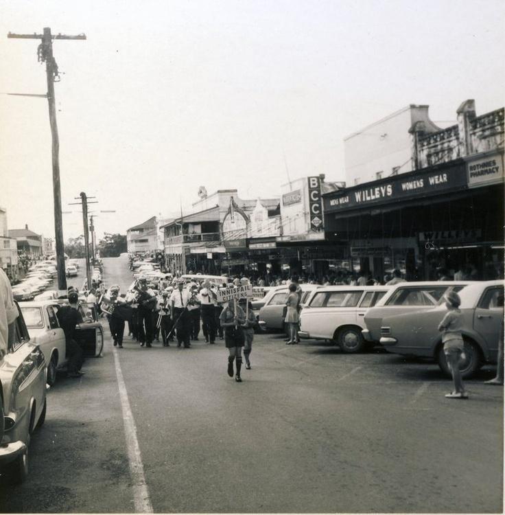 Jun 1970 Innisfail Band Festival - Harris Bros., Woolworths, BCC, & Willeys in Edith Street.