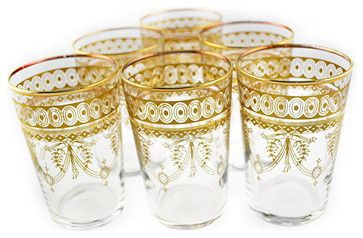 Berber Gold Moroccan Hand-painted Tea Glasses - eclectic - Everyday Glassware - Overstock.com