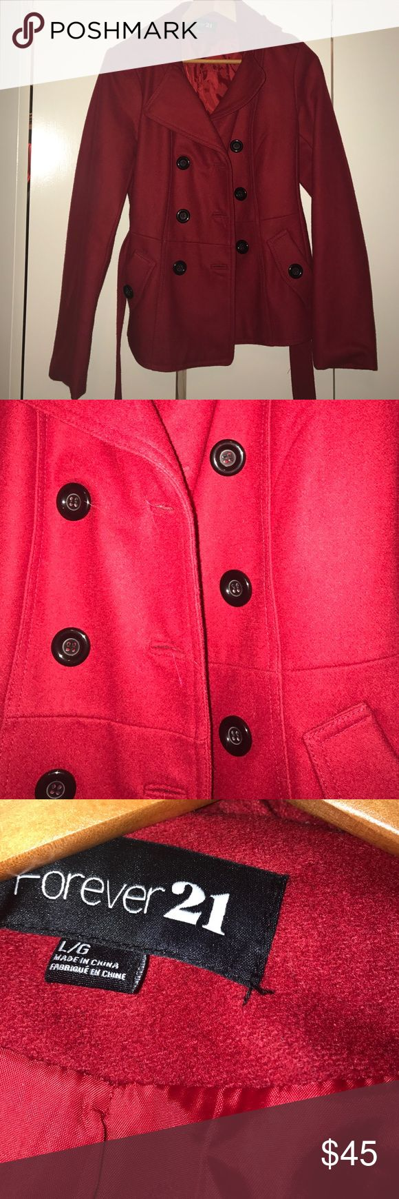 Peacoat Beautiful red peacoat. Price is firm, no low ball offers. This coat is so beautiful and I love it too much to let it go for cheap. Forever 21 Jackets & Coats Pea Coats