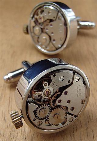 Steampunk Watch Movement Cufflinks by COWAN BROWN