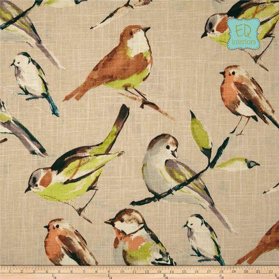Custom Designer Draperies Richloom Birdwatcher In Khaki Linen Citrine Tan Beige Bird Aviary 96