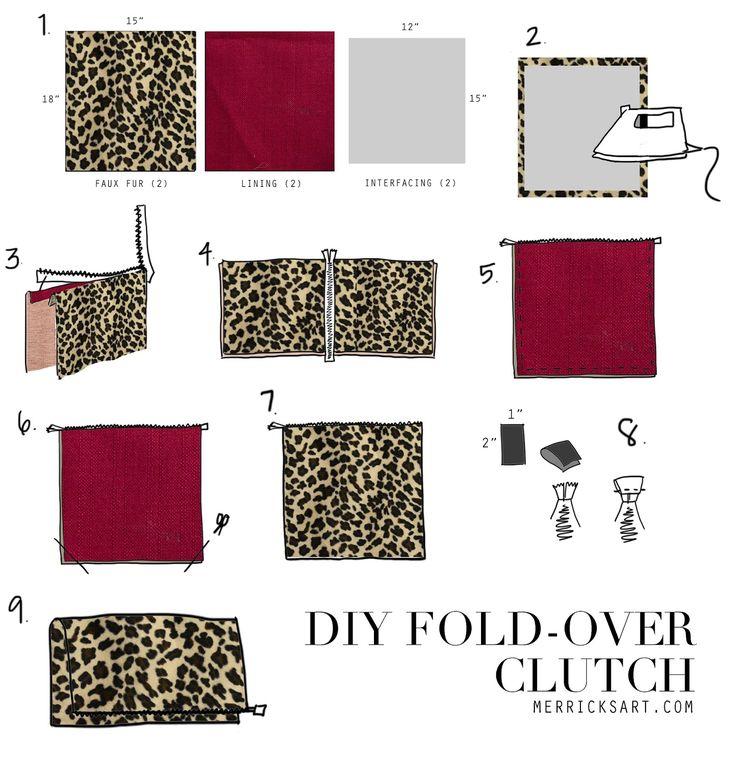 Tutorial: DIY leopard fold over clutch
